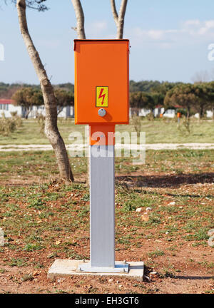 electric power control box in campsite - Stock Photo