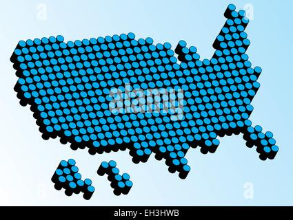 Abstract USA map made from black dots on a blue background. - Stock Photo