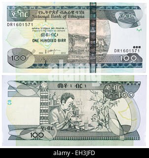 100 birr banknote, Farmer ploughing and man with a microscope in a laboratory, Ethiopia, 2012 - Stock Photo