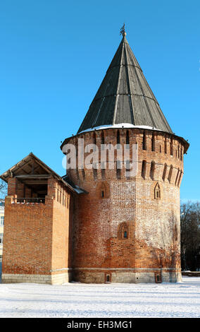 Beautiful tower a Thunder Smolensk winter day - Stock Photo