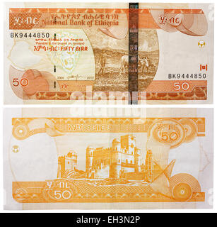 50 birr banknote, farmer ploughing and Fasilides Castle in Gondar, Ethiopia, 2012 - Stock Photo