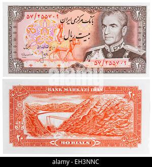20 rials banknote, Mohammad Reza Shah Pahlavi and Amir Kabir dam, Iran, 1974 - Stock Photo