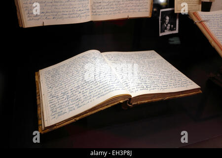 A young Danish sailor's diary from the 50's at the Danish Maritime Museum (M/S Museet for Søfart), Elsinore / Helsingør - Stock Photo