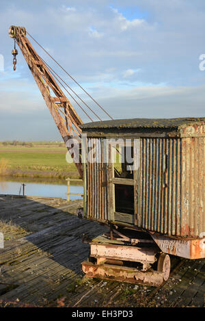 crane on old dock yard by the river Ouse Selby Yorkshire United Kingdom - Stock Photo