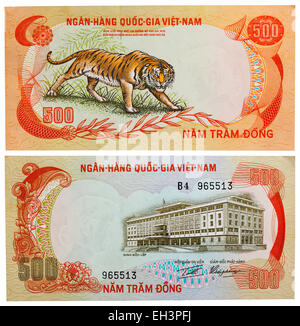 500 dong banknote, Growling tiger,  Palace of Independence, South Vietnam, 1972 - Stock Photo