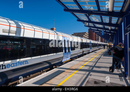 TRain at Platform 0ne 1 of tye of the new layout of gravesend station - Stock Photo