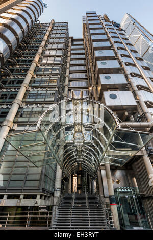 Entrance to the Lloyd's Building, home to insurance institution Lloyd's of London - Stock Photo