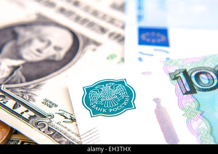 World money - Dollars, euros, russian roubles - Stock Photo