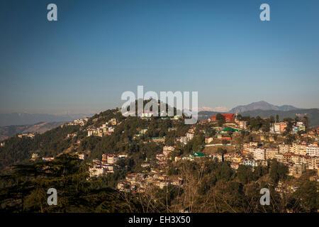 View from The Ridge, Shimla, Himachal Pradesh, India - Stock Photo