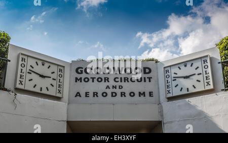 The tunnel entrance Rolex clocks at the Goodwood Motor Circuit and Aerodrome, Sussex, UK. - Stock Photo