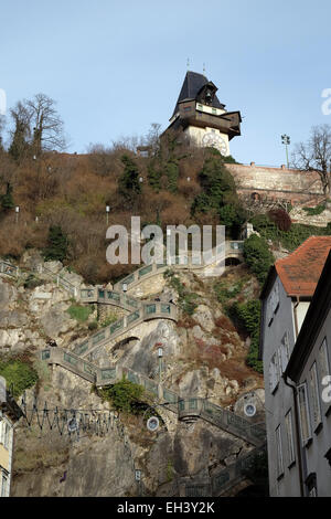 Schlossberg (Castle Hill), mountain in Graz. Part of the UNESCO World heritage in Graz, Austria on January 10, 2015. - Stock Photo