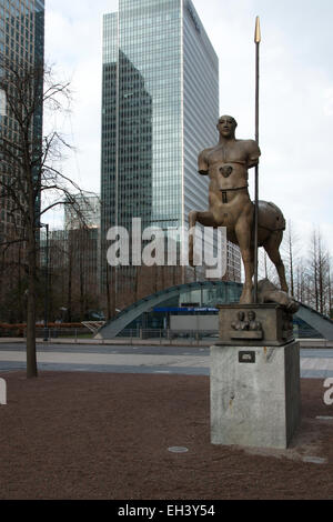 Statue of a centaur at Canary Wharf underground station in Montgomery Square, London - Stock Photo