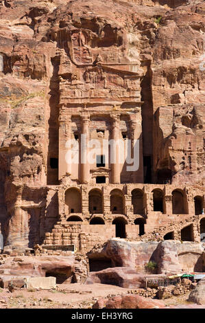 The 'Urn Tomb' one of the 'Royal Tombs' in Petra in Jordan - Stock Photo