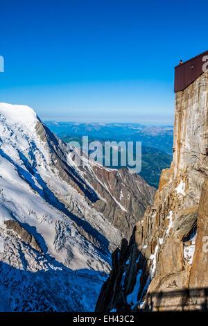 Aiguille du Midi, 3 842 m height, French Alps, Chamonix, France - Stock Photo