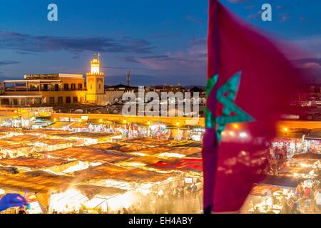 Morocco, High Atlas, Marrakech, imperial city, medina listed as World Heritage by UNESCO, Jemaa el Fna registered - Stock Photo