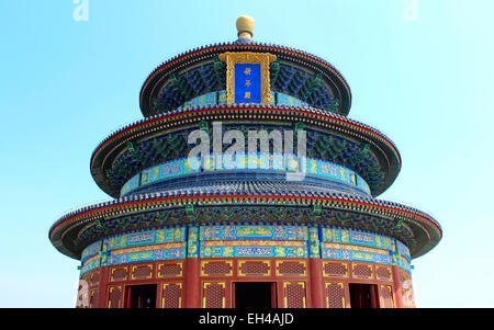 Photograph of one of Beijing's most iconic ancient buildings, the Temple of Heaven, where the Emperor would bring - Stock Photo