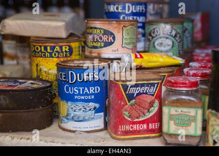 Antarctica, Port Lockroy British base museum, larder filled with 1950s tinned food - Stock Photo