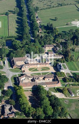 France, Orne, the National Haras du Pin, one of the jewels of the National Stud (aerial view) - Stock Photo