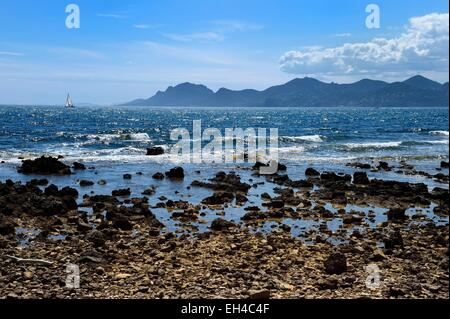 France, Alpes Maritimes, Lerins Islands, sailboat off the Sainte-Marguerite island and the Esterel Mountains in - Stock Photo