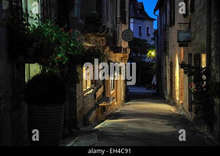 Lane in Saint-Cirq-Lapopie, Departement Lot, Midi-Pyrenees, France - Stock Photo