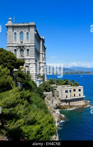 Principality of Monaco, Monaco, the oceanographic museum on the Rock seen from the Saint Martin Garden - Stock Photo