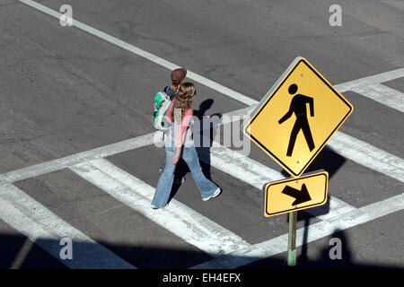 People in crosswalk from above - Stock Photo