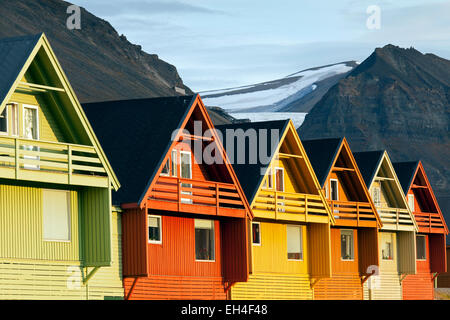 Colourful wooden houses in the settlement Longyearbyen in summer, Svalbard, Norway - Stock Photo
