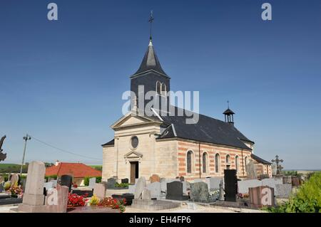 France, Marne, Valmy, Saint Martin church and its cemetery - Stock Photo