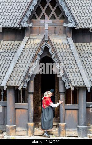 Norway, Oslo, Bygd°y peninsula, Norwegian Folk Museum (Norsk Folkemuseum) founded in 1894 with 160 traditional houses - Stock Photo