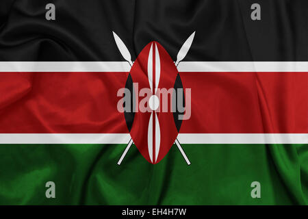 Kenya - Waving national flag on silk texture - Stock Photo