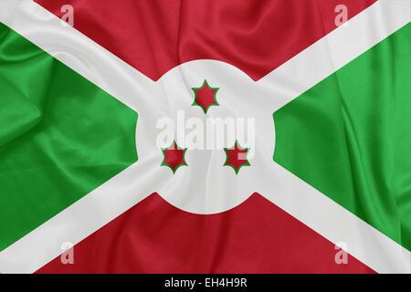 Burundi - Waving national flag on silk texture - Stock Photo