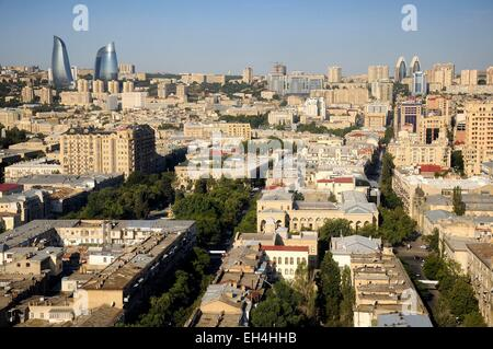 Azerbaijan, Baku, general view of the city and the Flame Towers - Stock Photo