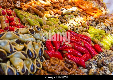 Morocco, High Atlas, Marrakech, imperial city, Medina listed as World Heritage by UNESCO, patisseries in the souks - Stock Photo