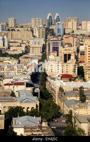 Azerbaijan, Baku, general view of the city and Nizami street - Stock Photo