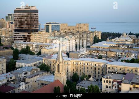 Azerbaijan, Baku, General view of the city and the Caspian sea - Stock Photo