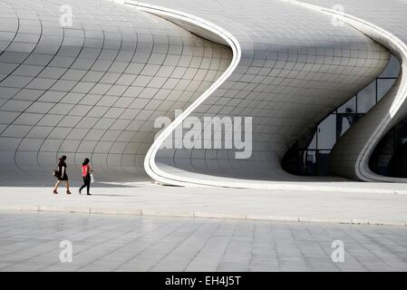 Azerbaijan, Baku, Heydar Aliyev cultural center futuristic monument designed by the architect Zaha Hadid - Stock Photo