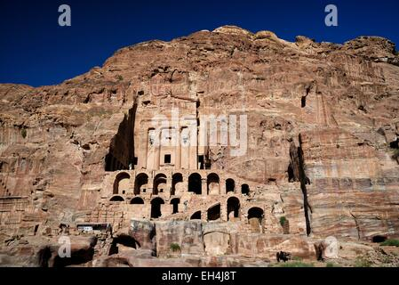 Jordan, Nabataean archeological site of Petra, listed as World Heritage by UNESCO, the Urn Tomb is part of the Royal - Stock Photo