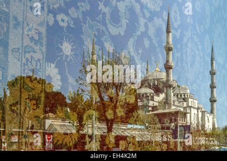 Turkey, Istanbul, historical centre listed as World Heritage by UNESCO, Sultanahmet, reflection of the blue mosque - Stock Photo