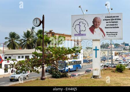 Gabon, Libreville, billboard in honor of Pope John Paul II in front St. Mary's Cathedral - Stock Photo