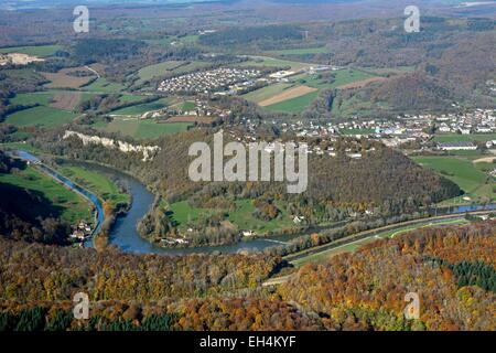France, Doubs, Baume les Dames, Doubs valley and the Rhone-Rhine canal in autumn (aerial view) - Stock Photo