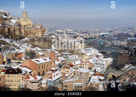 Georgia, Caucasus, Tbilisi, the old town with the mosque, the Narikala fortress, Saint Nicholas church and the Mtkvari - Stock Photo