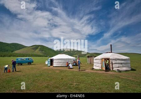 Mongolia, Arkhangai, living on the steppe - Stock Photo