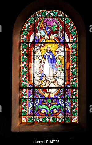 France, Marne, Valmy, Saint Martin church, stained glass - Stock Photo