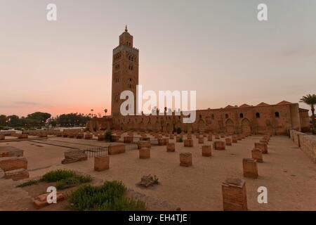 Morocco, High Atlas, Marrakech, Imperial city, medina listed as World Heritage by UNESCO, Koutoubia mosque, minaret - Stock Photo