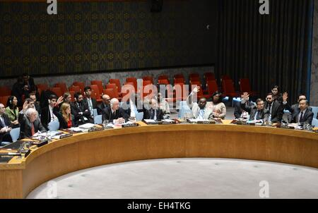 New York, USA. 6th Mar, 2015. The United Nations Security Council votes on a draft resolution regarding Syria at - Stock Photo