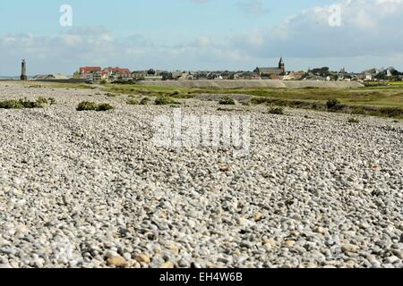 France, Somme, Cayeux sur Mer, Hable d Ault, shingle cord - Stock Photo