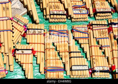 Peru, Cuzco province, Cuzco, listed as World Heritage by UNESCO christmas market, Santurantikuy, pan flutes - Stock Photo