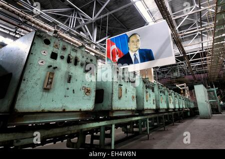 Azerbaijan, Baku, portrait of the former president Heydar Aliyev (father of Ilham Aliyev, actual president of Azerbaijan) - Stock Photo