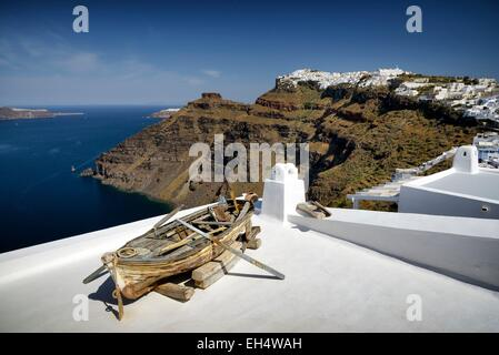 Greece, Cyclades, Santorini island (Thera, Thira), view on the caldera and Firostefani from the village of Fira - Stock Photo