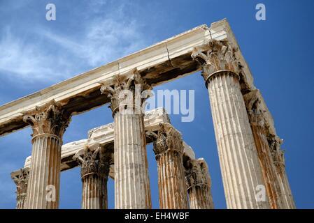 Greece, Attica, Athens, Corinthian columns of the temple of Olympian Zeus - Stock Photo
